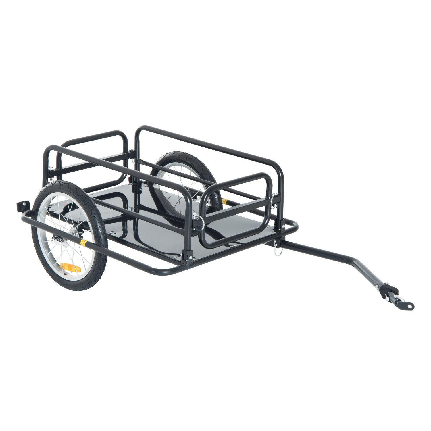 Aosom Wanderer Folding Bicycle Bike Cargo Storage Cart and Luggage Trailer with Hitch - Black