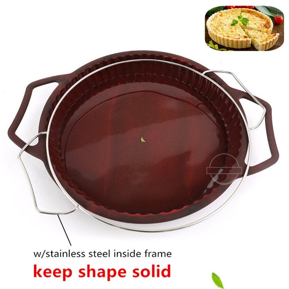 KeepingcooX Non-Stick Fluted Flan Tin/Quiche Pan with Handles, Steel Frame to Anti-deformed, Pie Tart Pan Large Round, 26 cm (10'')