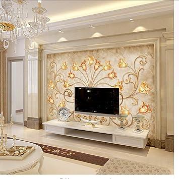 Wmbz Personnalisé Murale Style Européen 3D Fleurs Dorées Murale Tv Fond  Peinture Murale Salon Canapé Papier