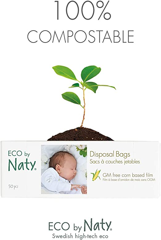 ECO WAVE 100/% Biodegradable and COMPOSTABLE Nappy Bags 200 Fragrance Free Bags
