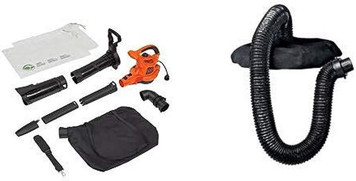 BLACK+DECKER 3-in-1 Electric Leaf Blower/Mulcher Kit with Blower/Vacuum Leaf Collection System (BV6000 & BV-006L)