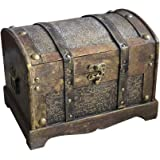 Amosfun Retro Wooden Box Pirate Treasure Chest Gem Vintage Jewelry Storage Box Keepsake Case Party Game Decoration (Size M)