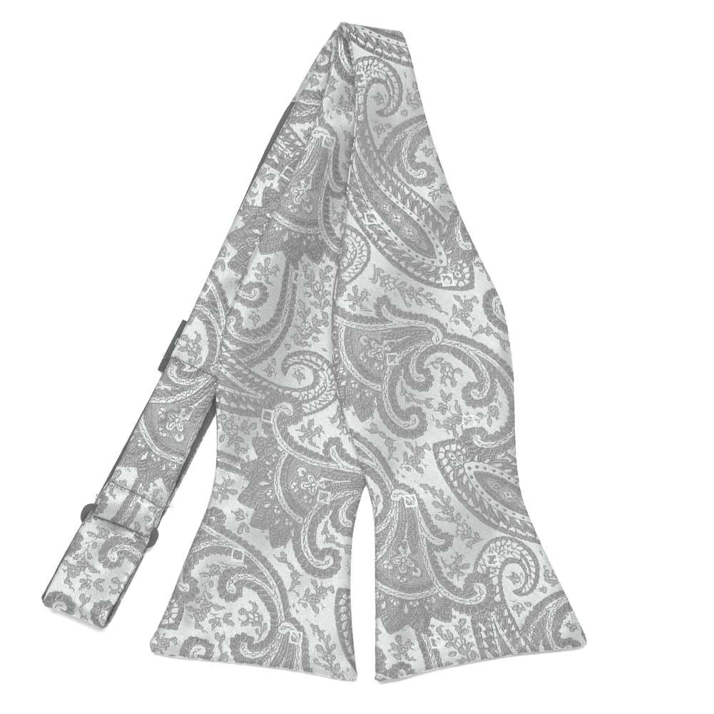 20fce83aa818e TieMart Mercury Silver Clara Paisley Self-Tie Bow Tie at Amazon Men's  Clothing store:
