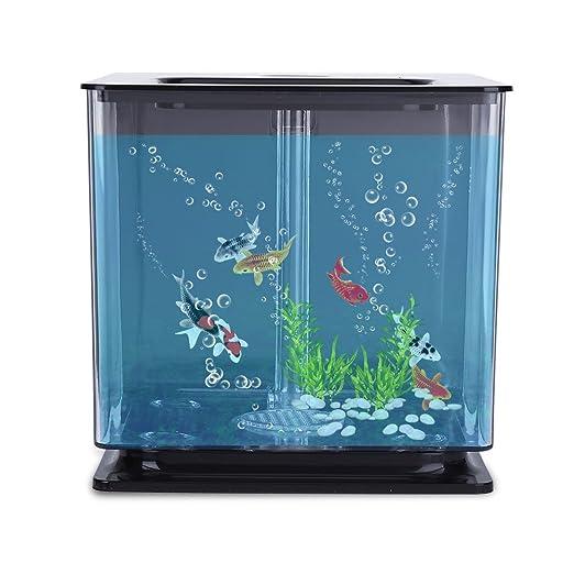 Socialme-EU Mini Tanque de Peces de Plástico Acuario Ambiental Creativo con Acuario Sistema de Filtro Automático Decoración Suministros(Negro): Amazon.es: ...
