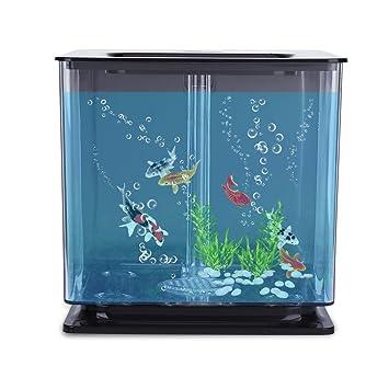 Acogedor - Mini Acuario Artificial con Burbujas, Sistema de Filtro automático (Azul/Rosa/Blanco/Negro/Verde): Amazon.es: Hogar