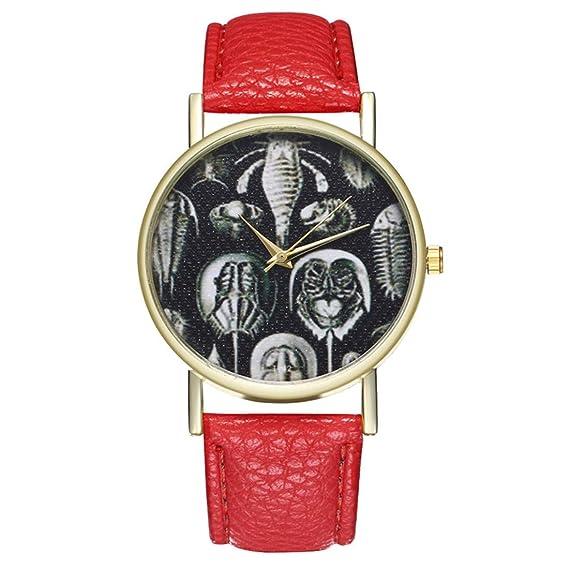 Reloj de Cuarzo para Adolescentes, Estudiante, Retro, con Cortex Humano (Rojo)