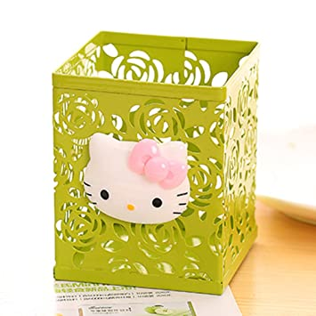 f407eedd6 Amazon.com : YOURNELO Cute Hello Kitty Hollow-Out Pen Pencil Holder Desk  Organizer Accessories (Green 3) : Office Products