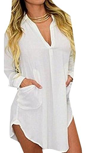 ASL Women's Sexy Loose Chiffon Blouse Top For V Neck Shirt White XS