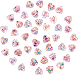 Airssory 200 Pcs Clear Resin Cabochons with Star Paillette Heart DIY Craft Making Resin Decoden Charms Bulk Jewery Making Slime Charms for DIY Craft Making and Ornament Scrapbooking - 14mm