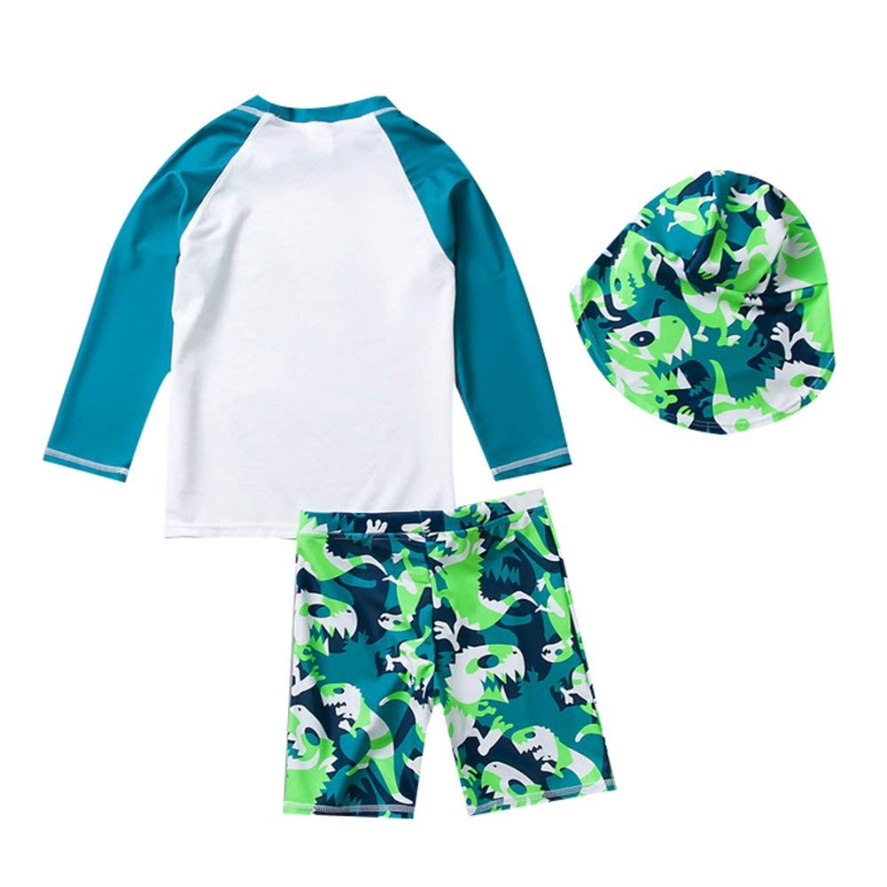 Boys Two Piece Swimsuit Swimwwear Baby Kid Long Sleeve Rash Guard Sun Protection Sunsuit with Hat 3-12t