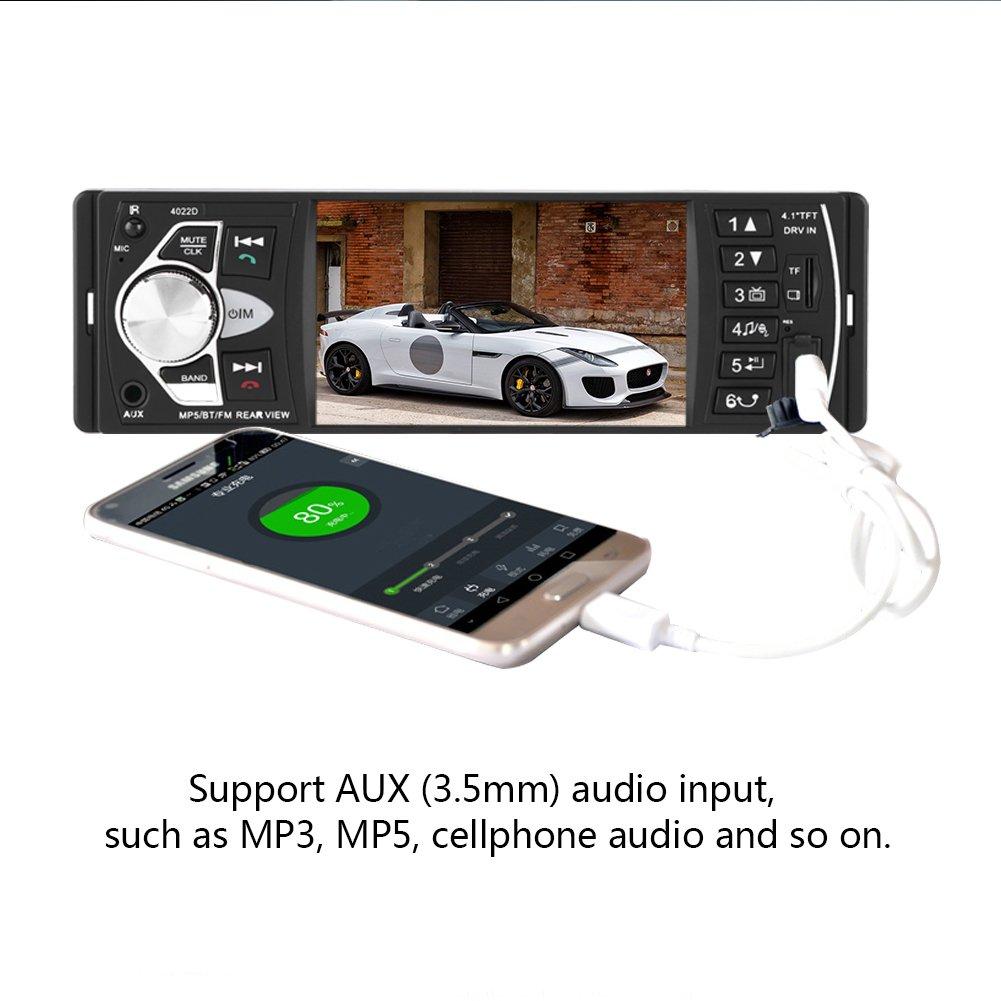 Amazon.com: 4.1 Inch TFT HD Car MP5 Player, Bluetooth Car Stereo FM Radio Playing FM Radio AUX TF USB Remote Control, 4022D (with Camera): Automotive