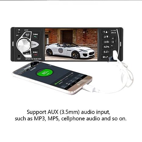 Qiilu Radio coche 4.1 pulgadas Reproductor MP5 Pantalla HD Bluetooth Manos libres Reproducción de video Radio FM AUX TF USB y Control remoto (con camara): ...