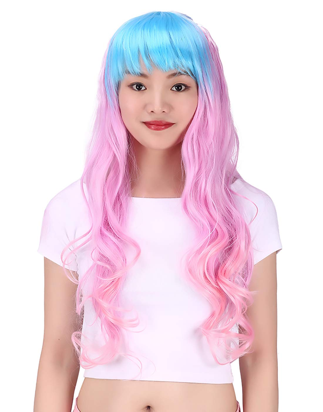 HDE Long Wavy Multi-Colored Cosplay Wig Halloween Costume Hair Accessory (25'' Length) - Pink