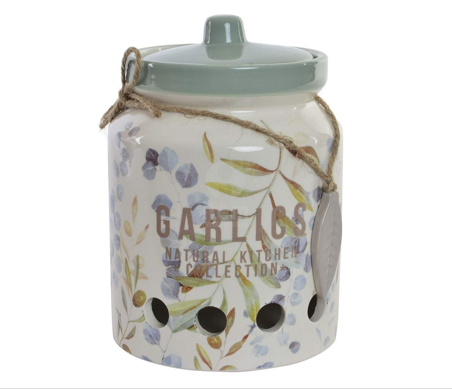 Natural Stoneware Garlic Keeper Jar by Item