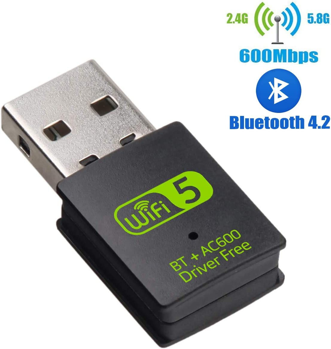 USB WiFi Bluetooth Adapter, 600Mbps Dual Band 2.4/5Ghz Wireless Network External Receiver, Mini WiFi Dongle for PC/Laptop/Desktop