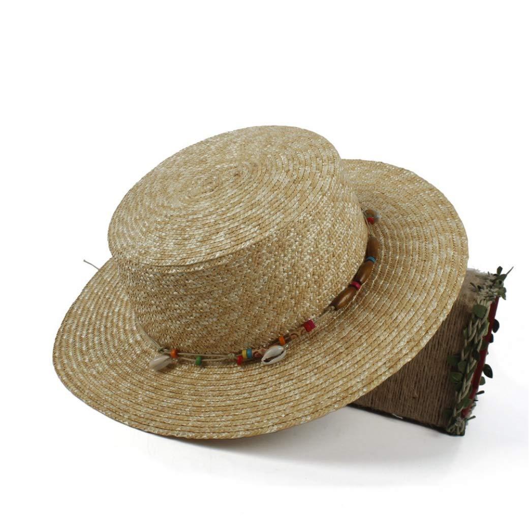 100/% Wheat Straw Wome Sun Hat for Lady Summer Beach Flat Hawai Sunbonnet Pork Pie Hat Shell Belt Size