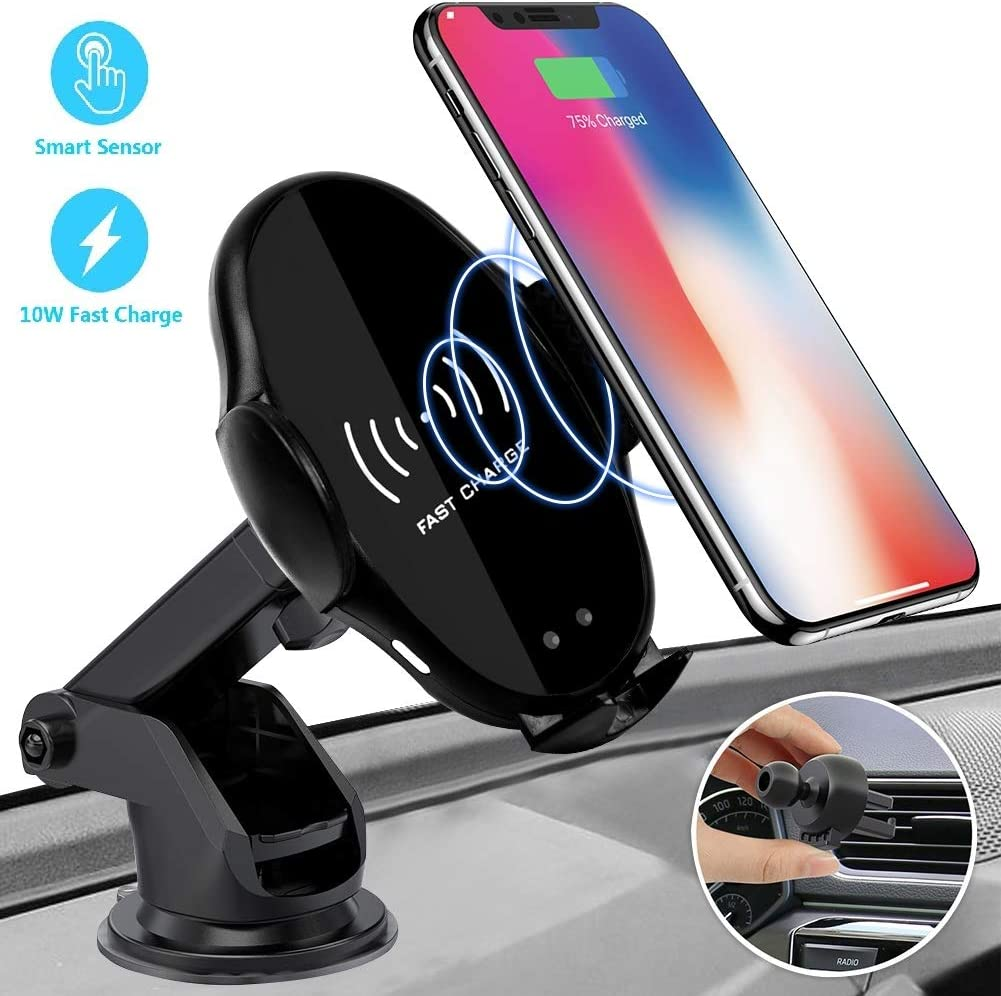 Wireless Car Charger Mount Samsung S10//S10+//S9//S9+//S8//S8+ Ecke 10W Qi Wireless Car Fast Charger Mount Air Vent /& Dashboard Phone Gravity Holder Compatible iPhone X//Xs Max//XR//8//8+