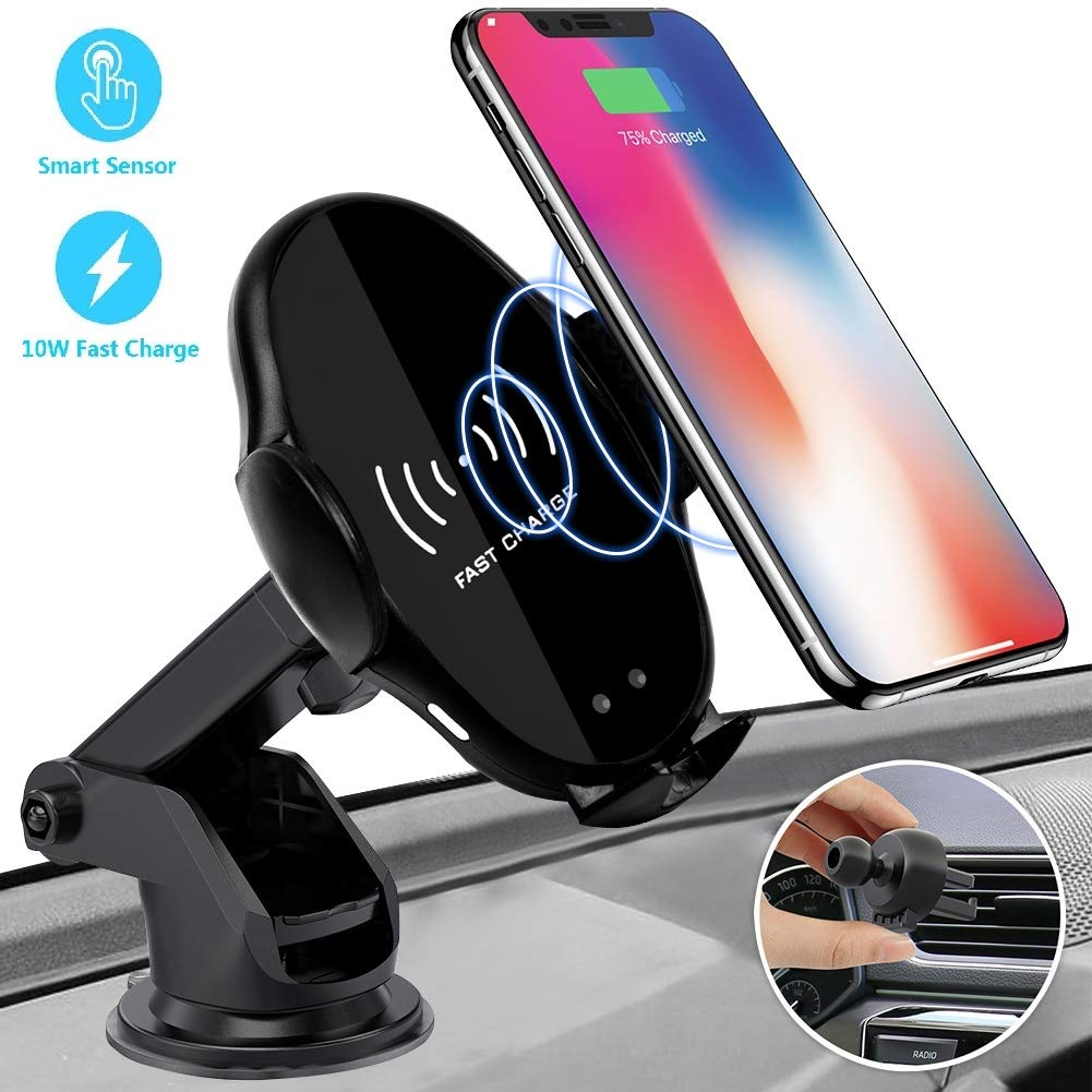 Wireless Car Charger Mount, Ecke 10W Qi Wireless Car Fast Charger Mount Air Vent & Dashboard Phone Gravity Holder Compatible iPhone X/Xs Max/XR/8/8+, Samsung S10/S10+/S9/S9+/S8/S8+