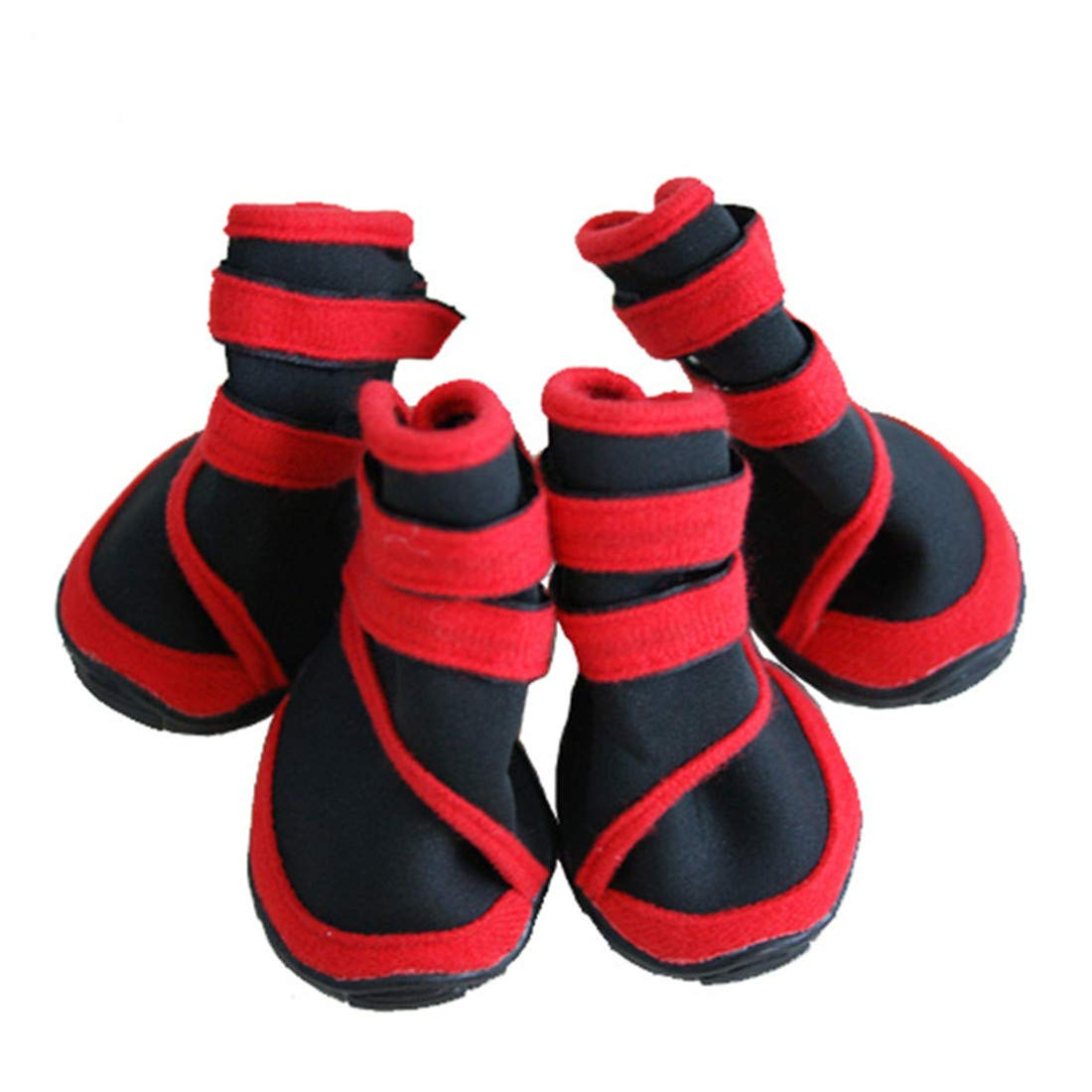 M-Upgrade, Red+Black VICTORIE Dog Shoes Winter Warm Waterproof Protective Pet Boots for Small Medium Large Dog red Black 4pcs