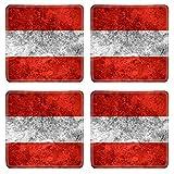 Liili Square Coasters flag of Austria or Austrian banner on vintage metal texture 29483779