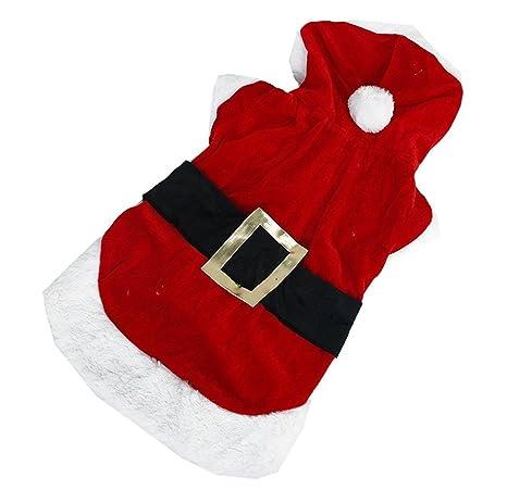 RUIIO - Disfraz de Papá Noel con capucha para perro pequeño, para regalo de Navidad