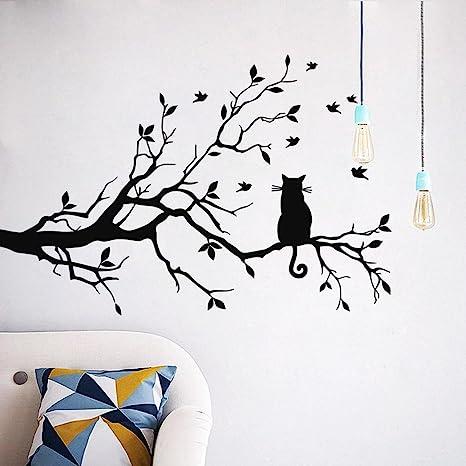 Decoración para el hogar habitación, Coper gato sobre larga rama de árbol adhesivo decorativo para