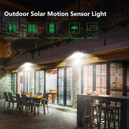Solar Lights Outdoor 100 LEDs , Motion Sensor Wireless Waterproof Security Light, Solar Lights for Garden, Patio, Yard, Driveway, Garage, Porch , Pathway by Luposwiten [2PACK] by Luposwiten (Image #7)