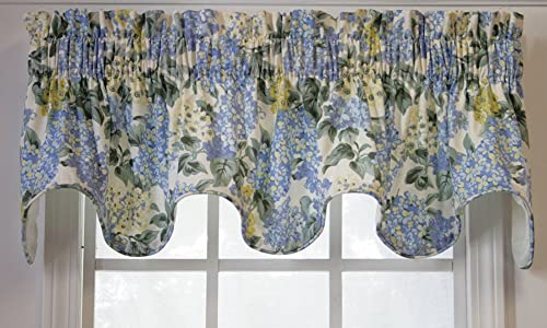 Hydrangea Scallop Valance 70-inch-by-16-inch, Blue