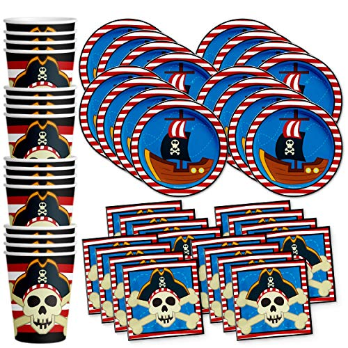 Pirate Ship Birthday Party Supplies Set Plates Napkins Cups Tableware Kit for 16 by Birthday Galore