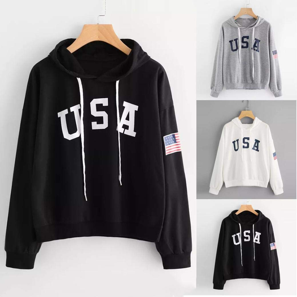 DEATU Womens Hoodies,Ladies Teen Girls Letter Flag Printed Sweatshirt Long Sleeve Pullover Tops Blouse Hoodies