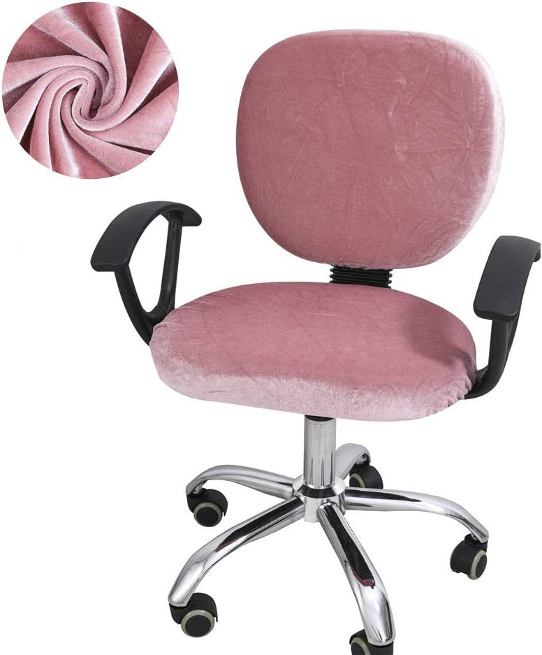 Jinzio Computer Office Chair Slipcover - Split Protective & Stretch Velvet Fabric Universal Desk Chair Cover Task Protector Rotating Chair Seat Cover, Pink