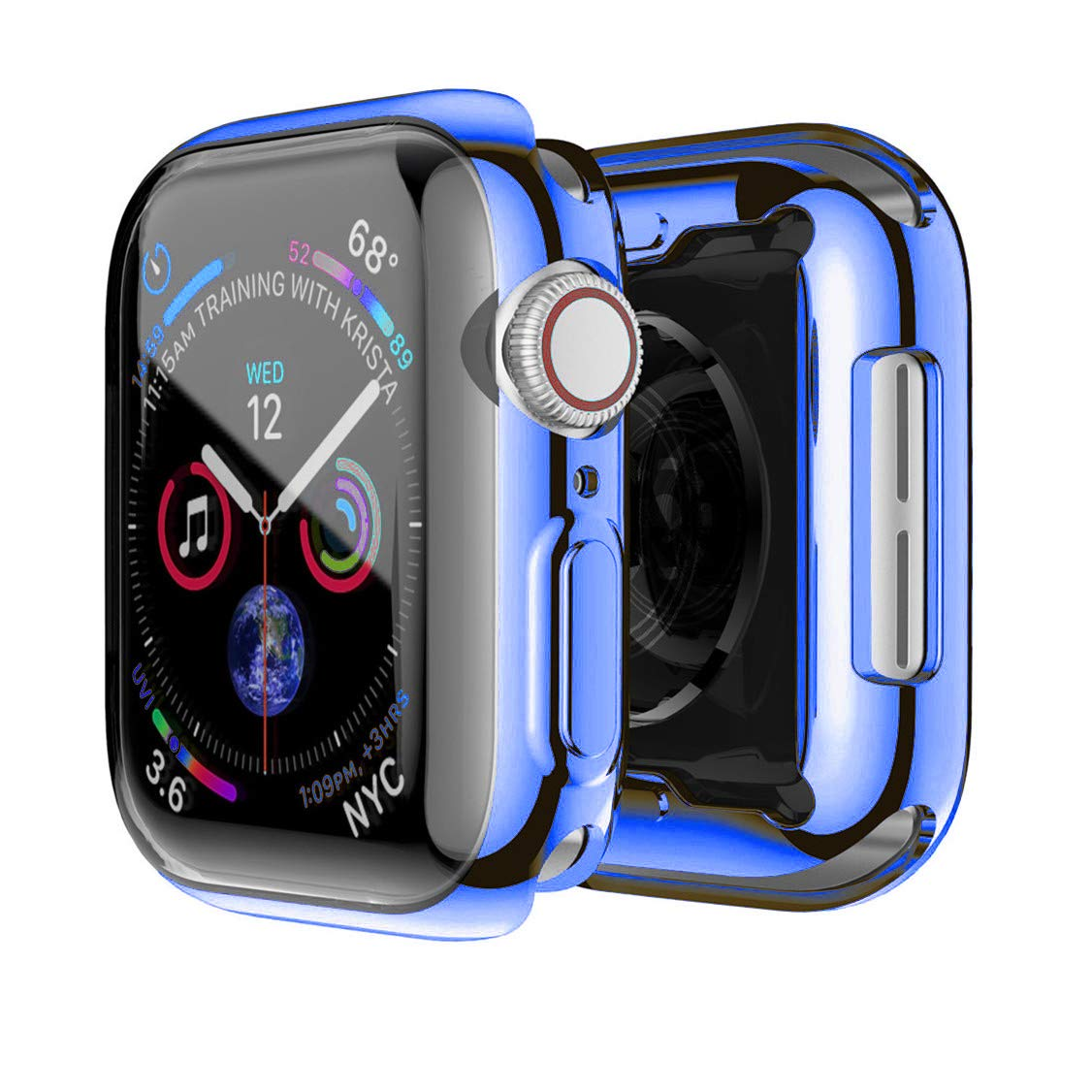 Compatible Apple Watch Screen Protector 44mm Blue Case, Built-in Screen Protectors Full Front Plated Soft TPU All-Around Shockproof Bumper Smartwatch Iwatch Cover for Apple Watch Series 4 by HACASE