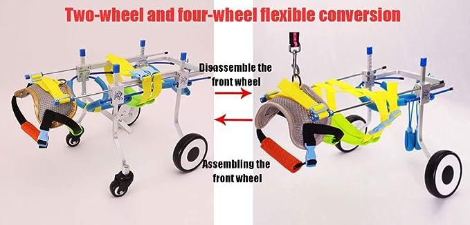 Silla de ruedas para mascotas, silla para perros, carro para perros, 2 kg (4.4 libras) -50 kg (110 libras), ajuste multidireccional, cuatro rondas, ...