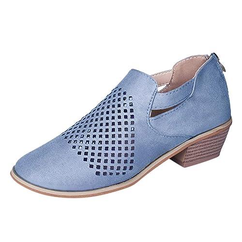 QinMM Zapatos de Cuero con Abertura en el Tobillo para Mujer Zapatos de Primavera Botas Cortas Mocasines Respirable: Amazon.es: Zapatos y complementos