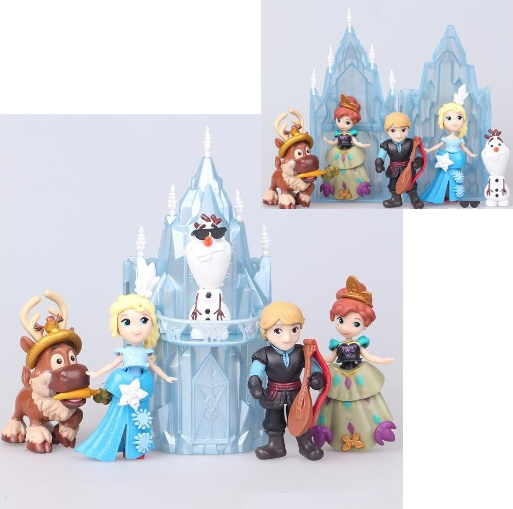 TOP Satisfied Castle Frozen Elsa Anna Olaf Playset 6x pcs Figure Cake Topper Toy Doll Set