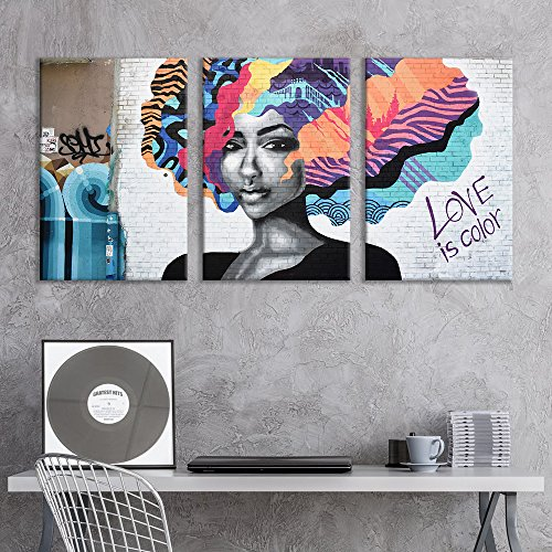 (wall26 - 3 Panel Canvas Wall Art - Triptych Street Graffiti Series - Love is Color - Giclee Print Gallery Wrap Modern Home Decor Ready to Hang - 16