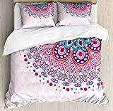 Mandala Luxury Duvet Cover Set Soft Bedding Sets Twin Size - Includes Flat Sheet Comforter Protector and Decorative Pillow Shams - Ethnic Ornamental Figure Meditation Spiritual Zen Boho Style Print