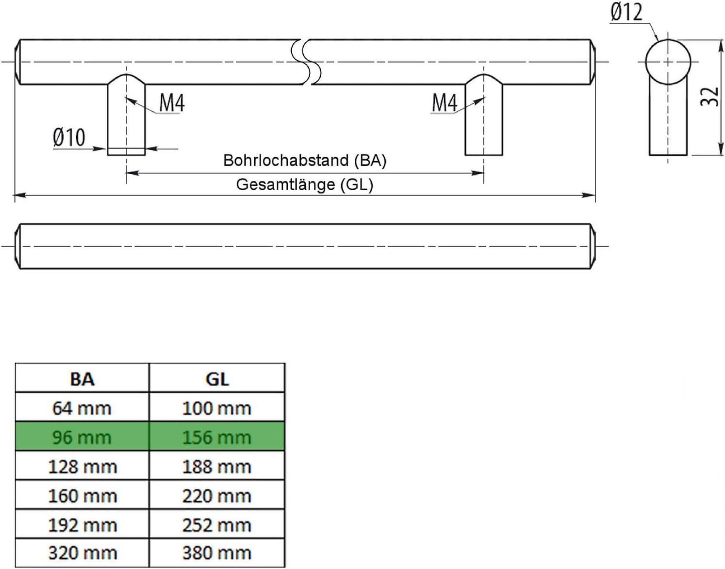 10 x SO-TECH/® Tirador barra G6 Acer Fino Massivo /Ø 12 mm//Distancia de pozos 128 mm