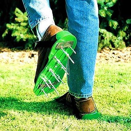 Rasenbelüfter Rasenlüfter Sandalen Vertikutierer Nagelschuhe Rasen Garten Schwar