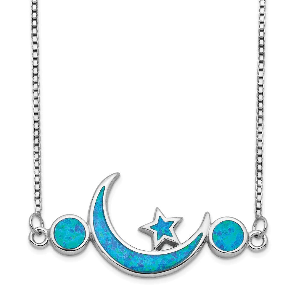 19 Length 925 Sterling Silver Rhodium-plated Imitation Opal Celestial Moon /& Star Necklace