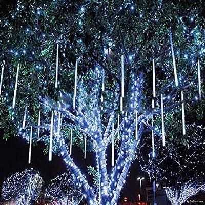 8W LED Light 50cm 400 Leds Meteor Shower Rain LED Lights 10 Tube Snowfall String Fairy Lighting for Christmas Tree Valentine Holiday Party Outdoor Garden Decoration