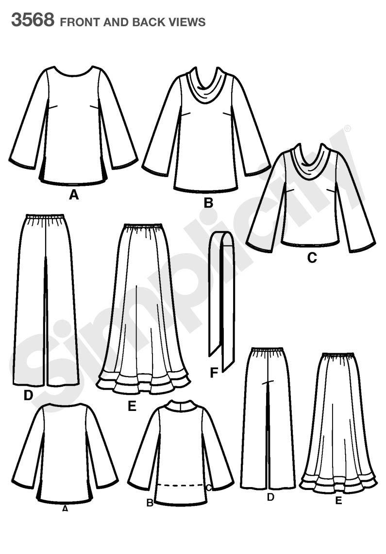 Simplicity 3568 - Patrones de costura para ropa de mujer (tallas ...