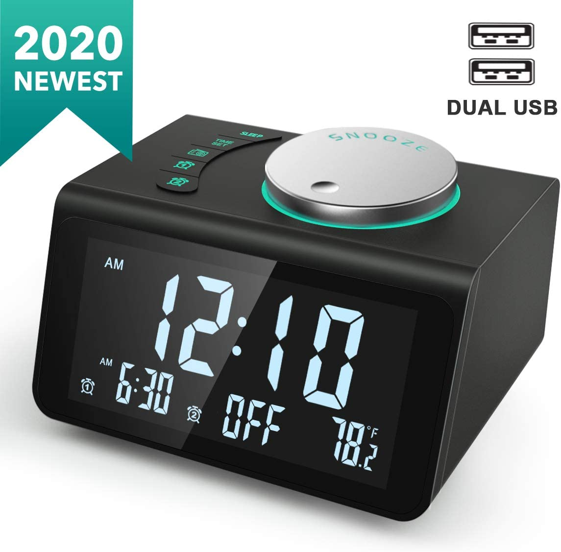 ANJANK Small Digital Alarm Clock Radio – FM Radio,Dual USB Charging Ports,Dual Alarms with 7 Alarm Sounds,Adjustable Volume,Temperature,5 Level Brightness Dimmer,Battery Backup,Bedrooms Sleep Timer