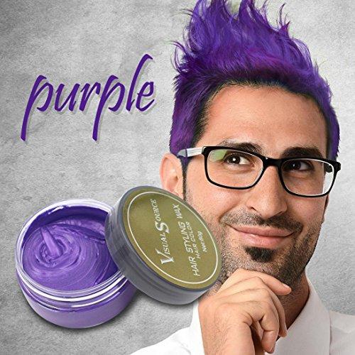 Creazy Hair Wax Men Women Grandma Hair Ash Dye Gray Mud Temporary 80g (Purple)