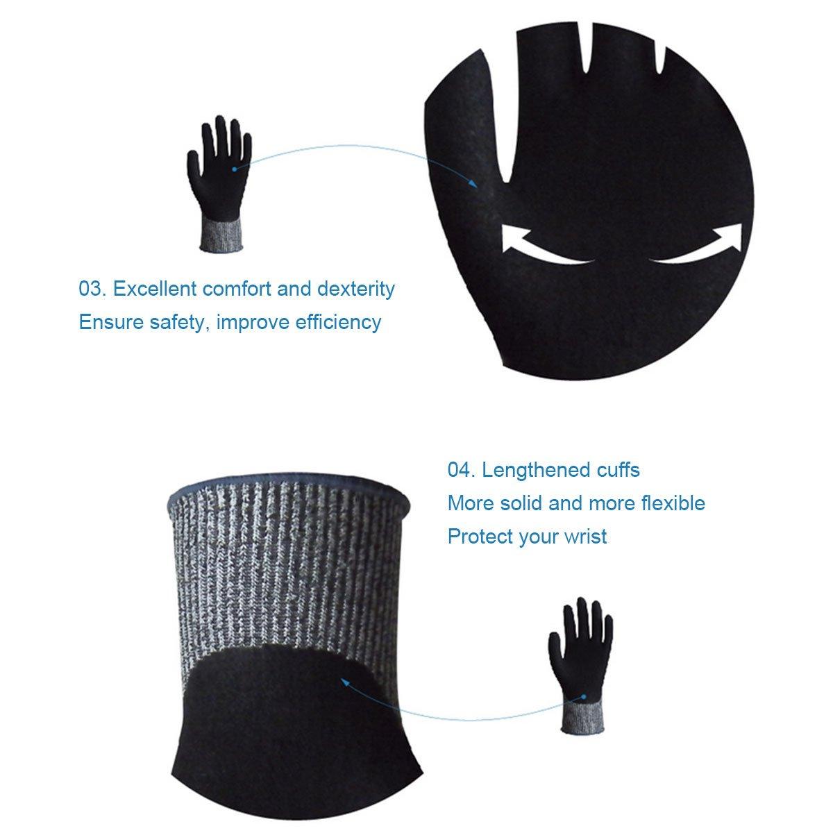 vismile Wonder Grip Cut Resistant Gloves Safety Nitrile Palm EN388 Certified Level 3 Protection