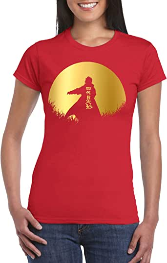 Red Female Gildan Short Sleeve T-Shirt - Minato – Half Circle – Gold design