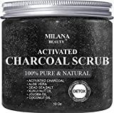 Activated Charcoal Scrub 10 oz.- Pore Minimizer & Reduces Wrinkles, Blackheads & Acne Scars, & Anti Cellulite Treatment - Great Body Scrub, Facial Scrub & Facial Cleanser review