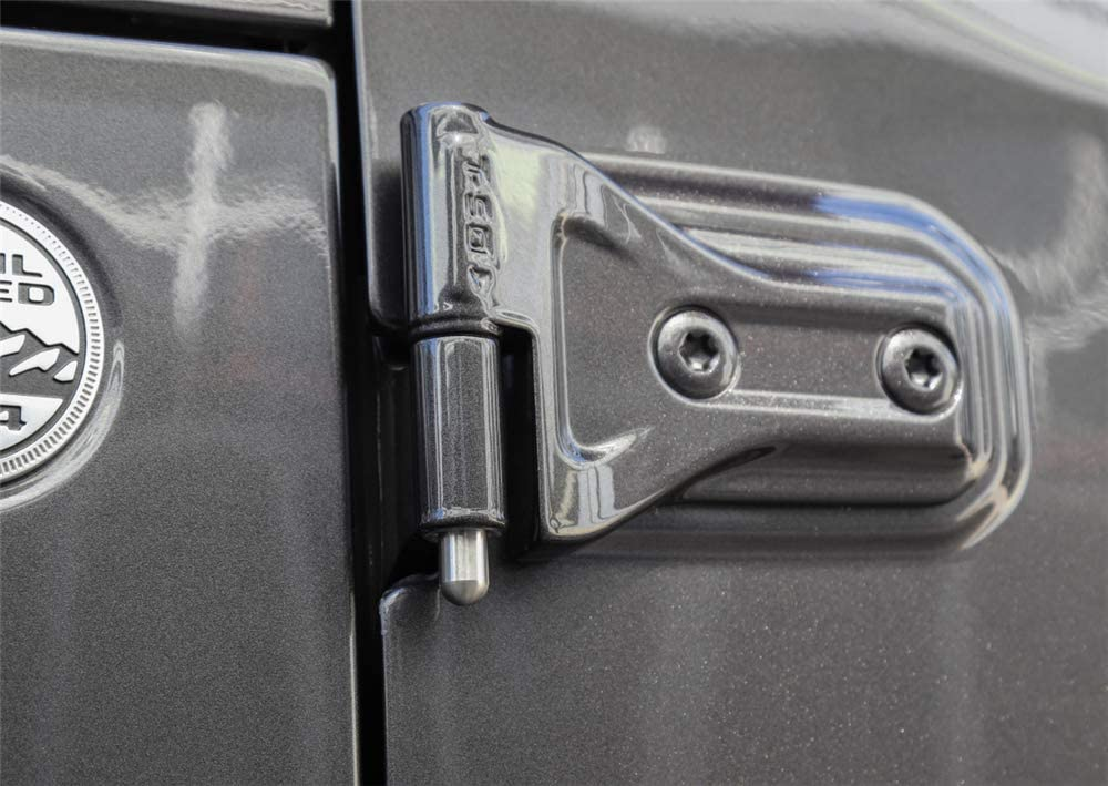 JUNLELI 4Doors Pin Guides Protective Hinge Scratches Anti-rust Silver Hinges Liners for Jeep Wrangler TJ JK JL 2007-2019 Car Exterior Styling Pack of 8