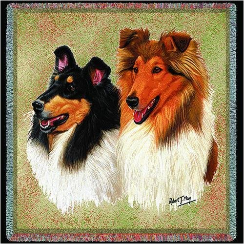 Pure Country 1160-LS Collie Pet Blanket, Canine on Beige Bac
