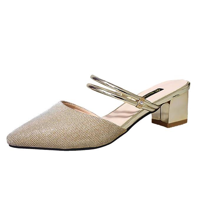 Zapatos de Mujer Sandalias de Mujer Tacones Altos Lentejuelas de Moda para Mujer Zapatillas de Punta Sandalias de tacón Alto Sandalias de Playa para Mujer: ...